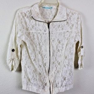 Maurices Women's Lace Zip-Up Moto Boho Jacket